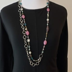 Cookie Lee Necklace Multi Way Silver + Beads